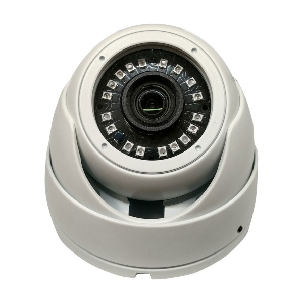 HD-TVI DOme: 4-in-1 (CVI, TVI, AHD, Analog) Turret  Dome 1080P 2.8mm Fixed Lens 24IR Weatherproof - White