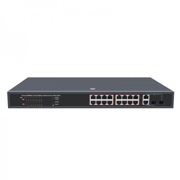 PoE Switch: 24RJ-45 10/100M ports+2 1000M SFP with 24 PoE Ports Unmanaged Switch IEEE802.3af(15.4W) full load on 24 ports,Rackmount